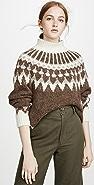 FRAME Alpaca Fair Isle Mock Neck Sweater