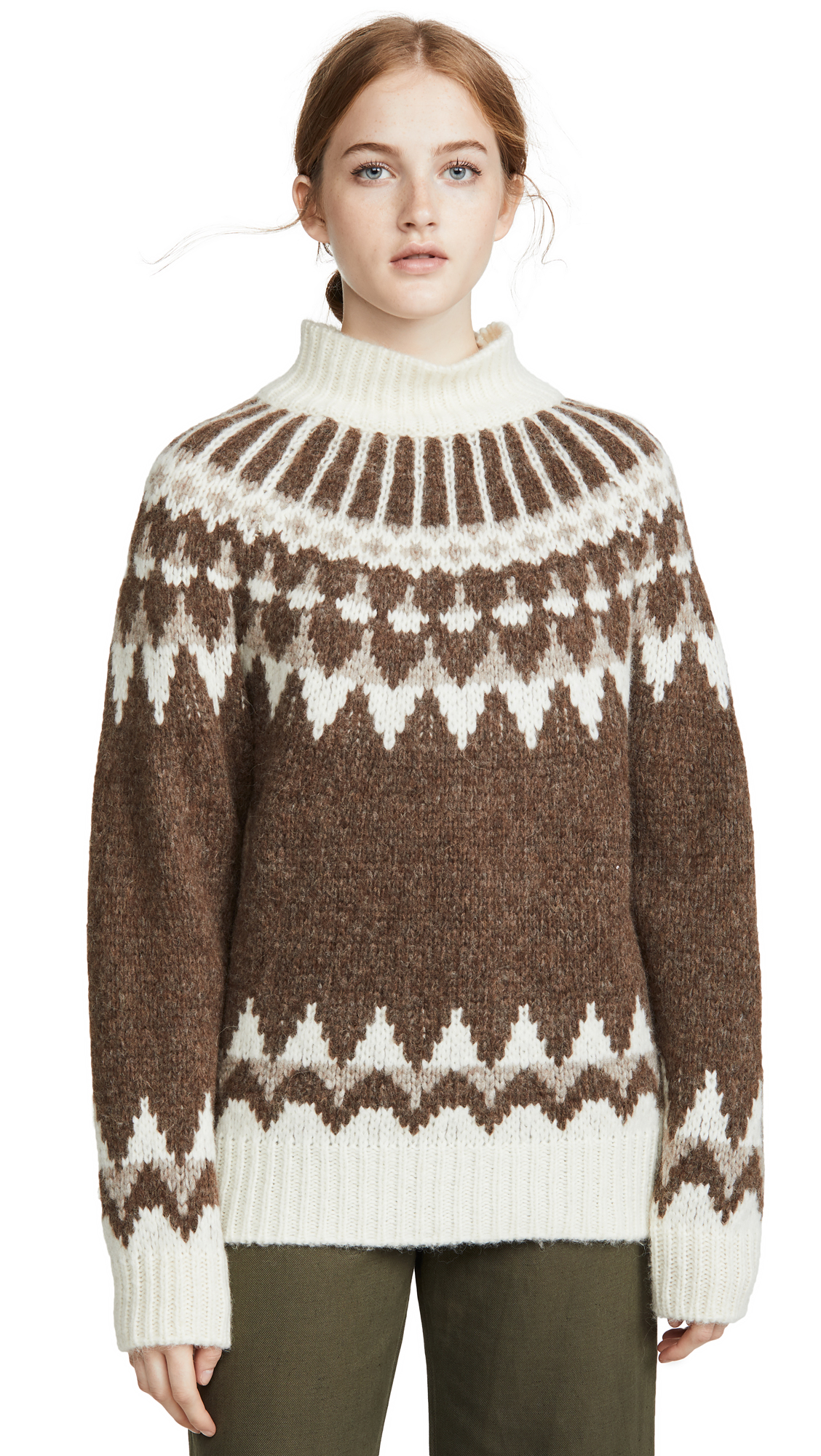 Buy FRAME online - photo of FRAME Alpaca Fair Isle Mock Neck Sweater
