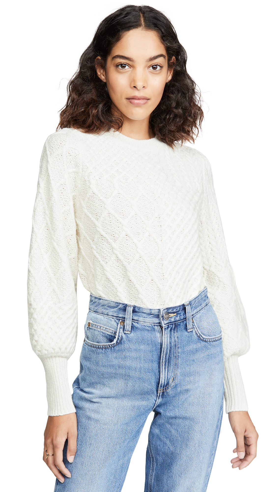 Buy FRAME online - photo of FRAME Patchwork Cable Crew Sweater