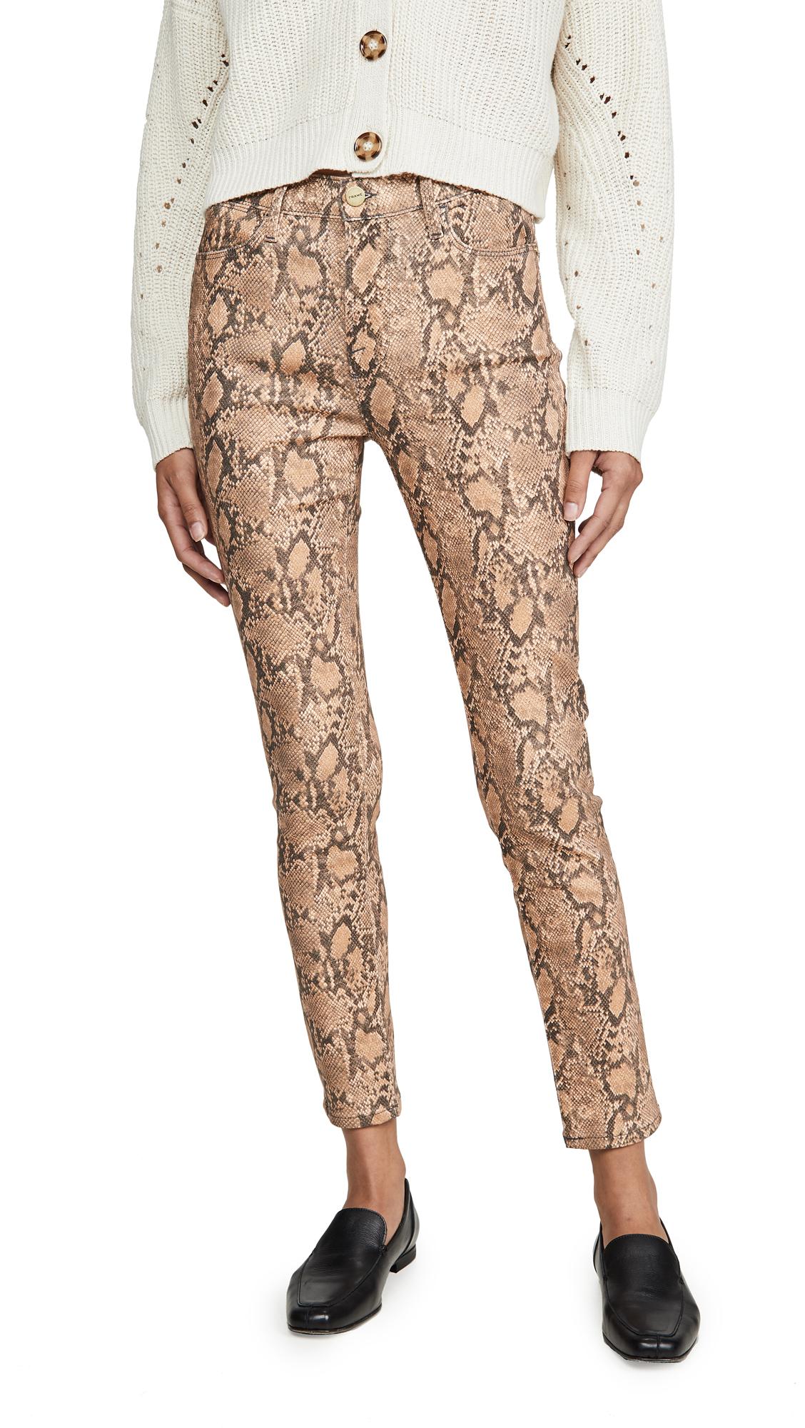Buy FRAME online - photo of FRAME Le High Skinny Crop Coated Python Jeans