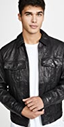 FRAME Leather Trucker Jacket