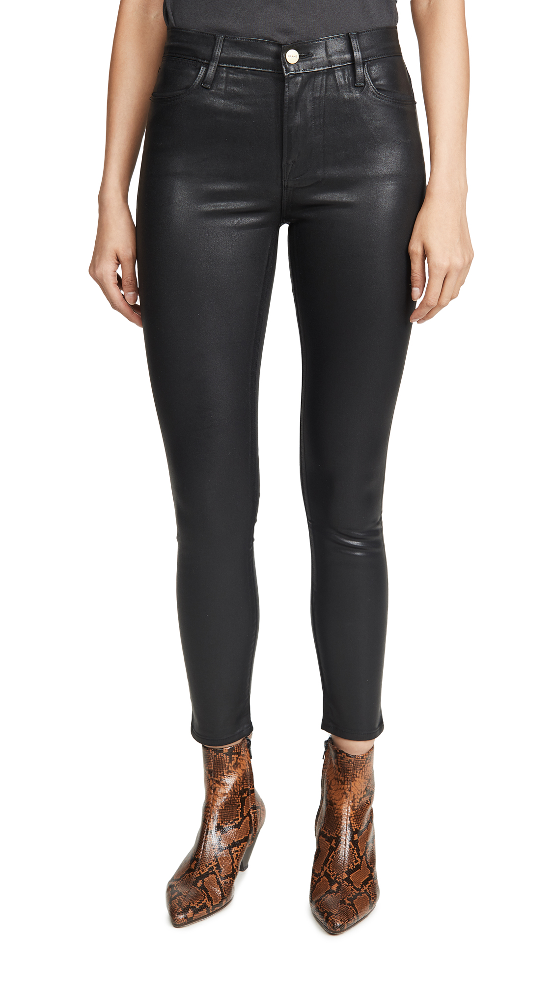Buy FRAME online - photo of FRAME Le High Skinny Coated Jeans
