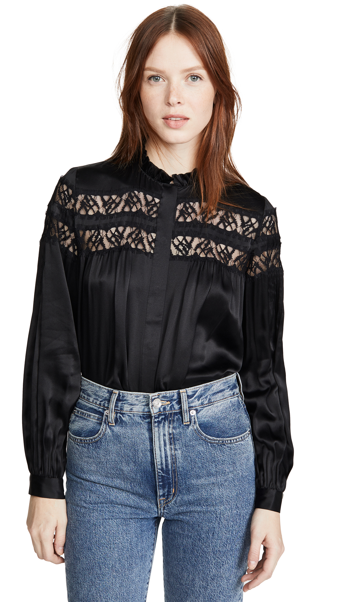 Buy FRAME online - photo of FRAME Paneled Lace Long Sleeve Top
