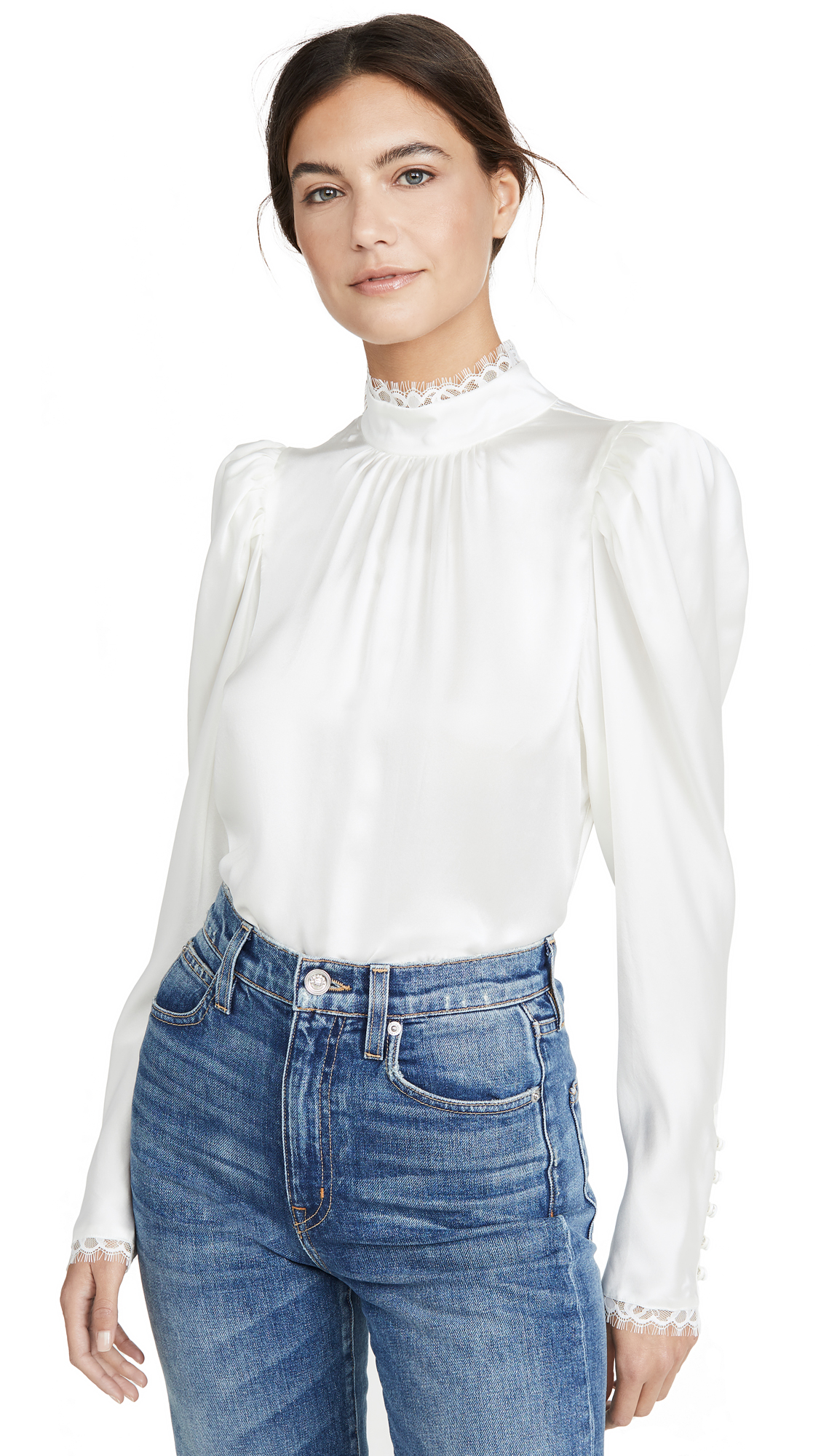 Buy FRAME online - photo of FRAME Lace Cuff Top