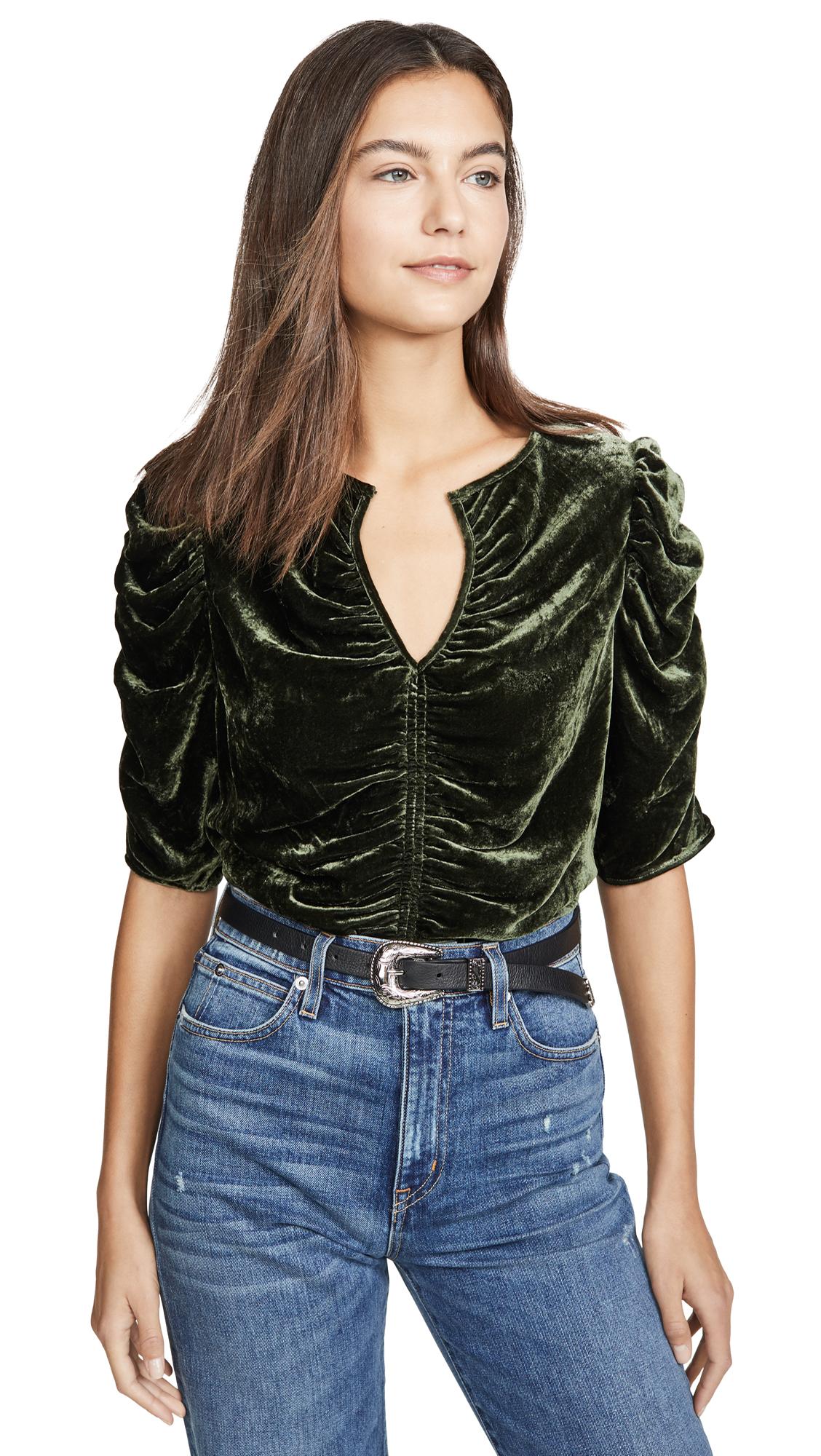 Buy FRAME online - photo of FRAME Shirred Keyhole Top