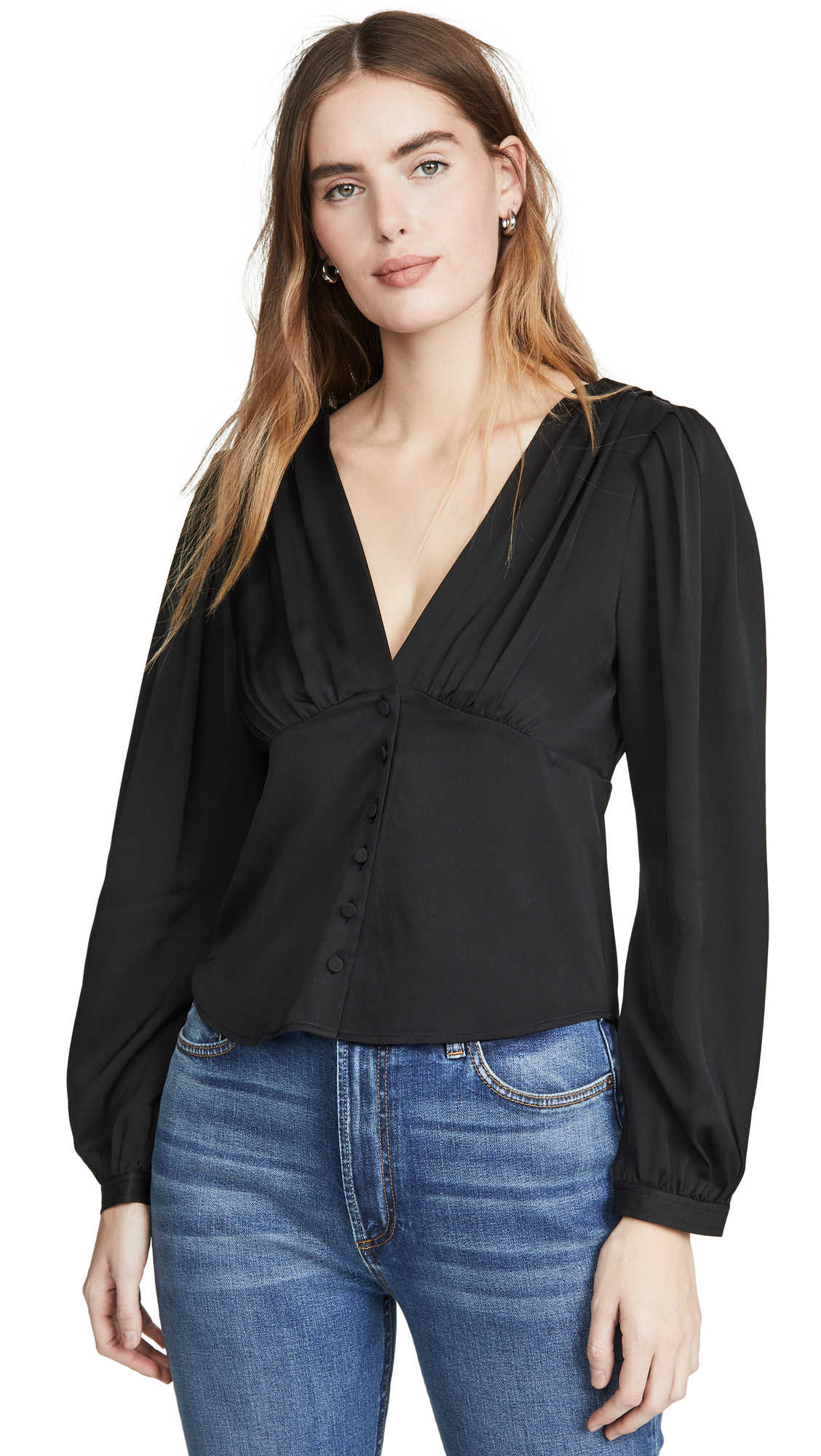 Photo of FRAME Empire Pleat Top - shop FRAME Tops, Blouses online