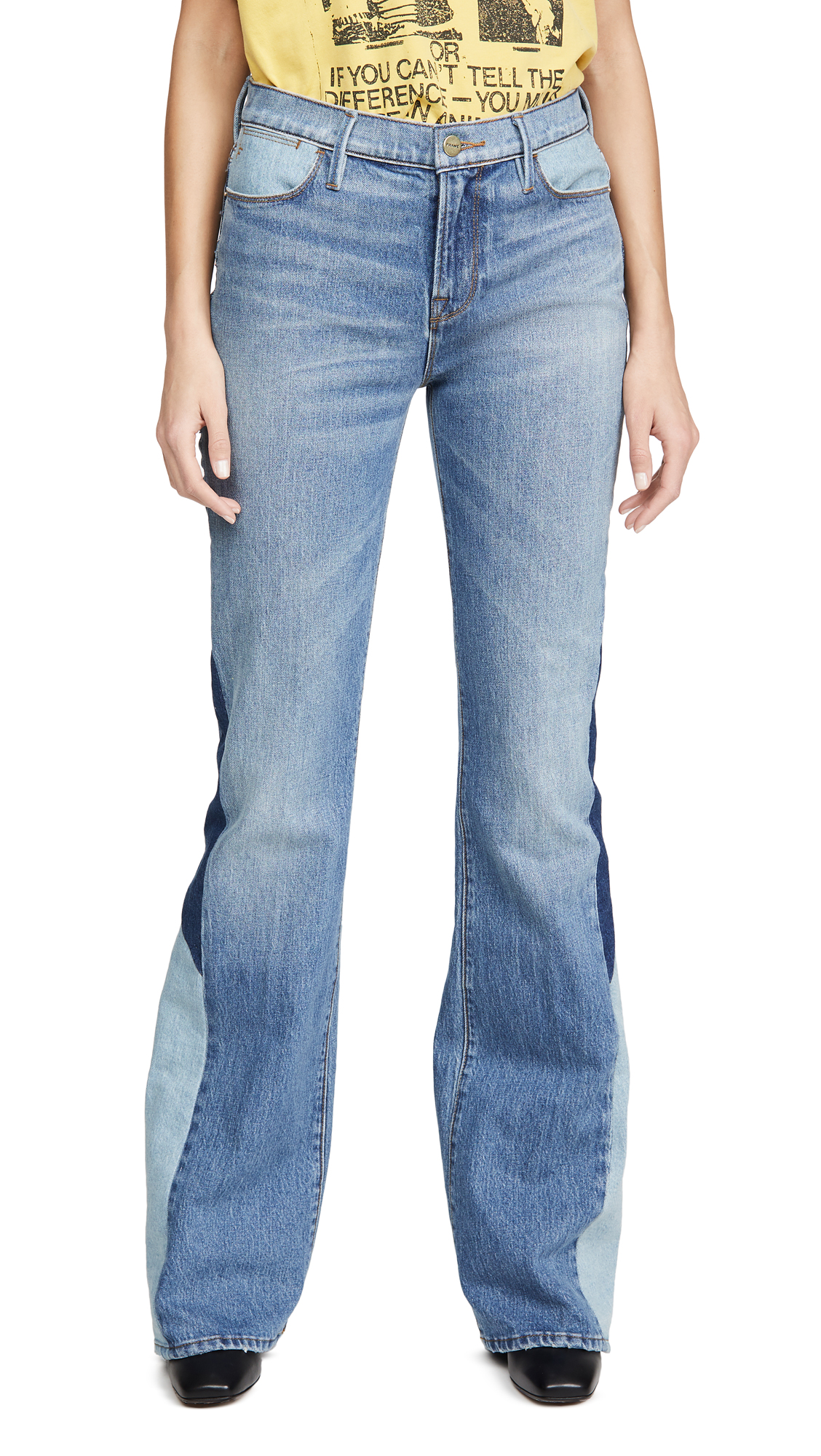 Buy FRAME online - photo of FRAME Le High Flare Diagonal Block Jeans