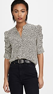 FRAME Shirred Sleeve Button Up Shirt