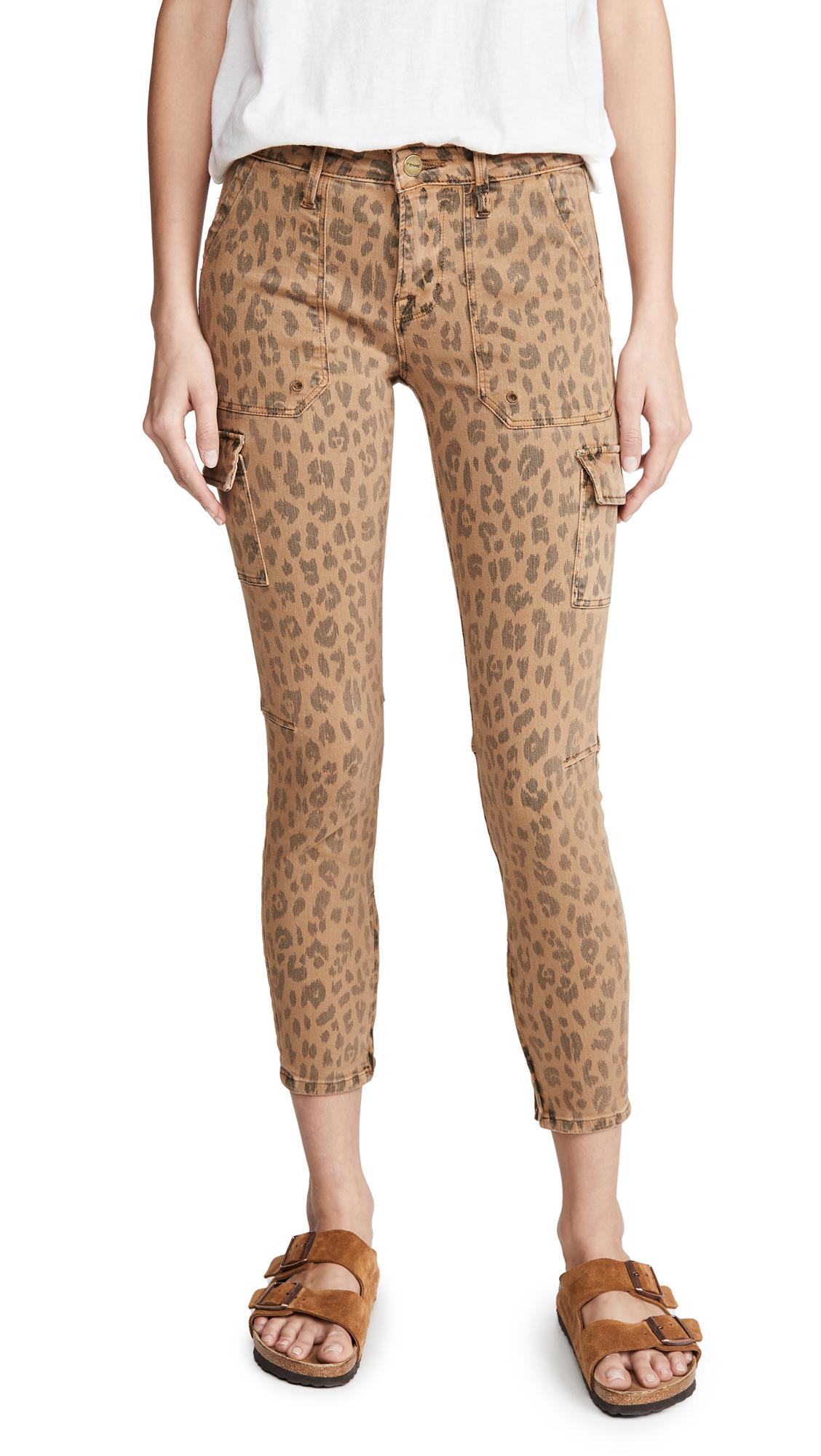 Buy FRAME online - photo of FRAME Spring Cheetah Cargo Skinny Jeans