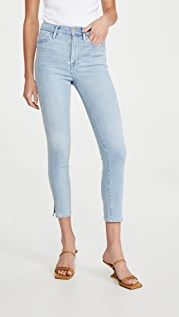 FRAME Ali High Rise Cigarette Slit Rivet Jeans