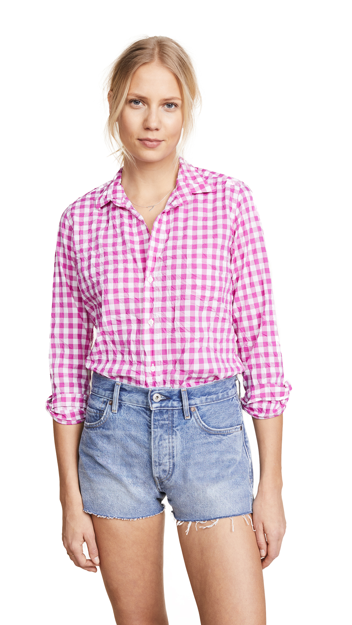 Barry Gingham Button-Down Shirt, Large Hot Pink Check