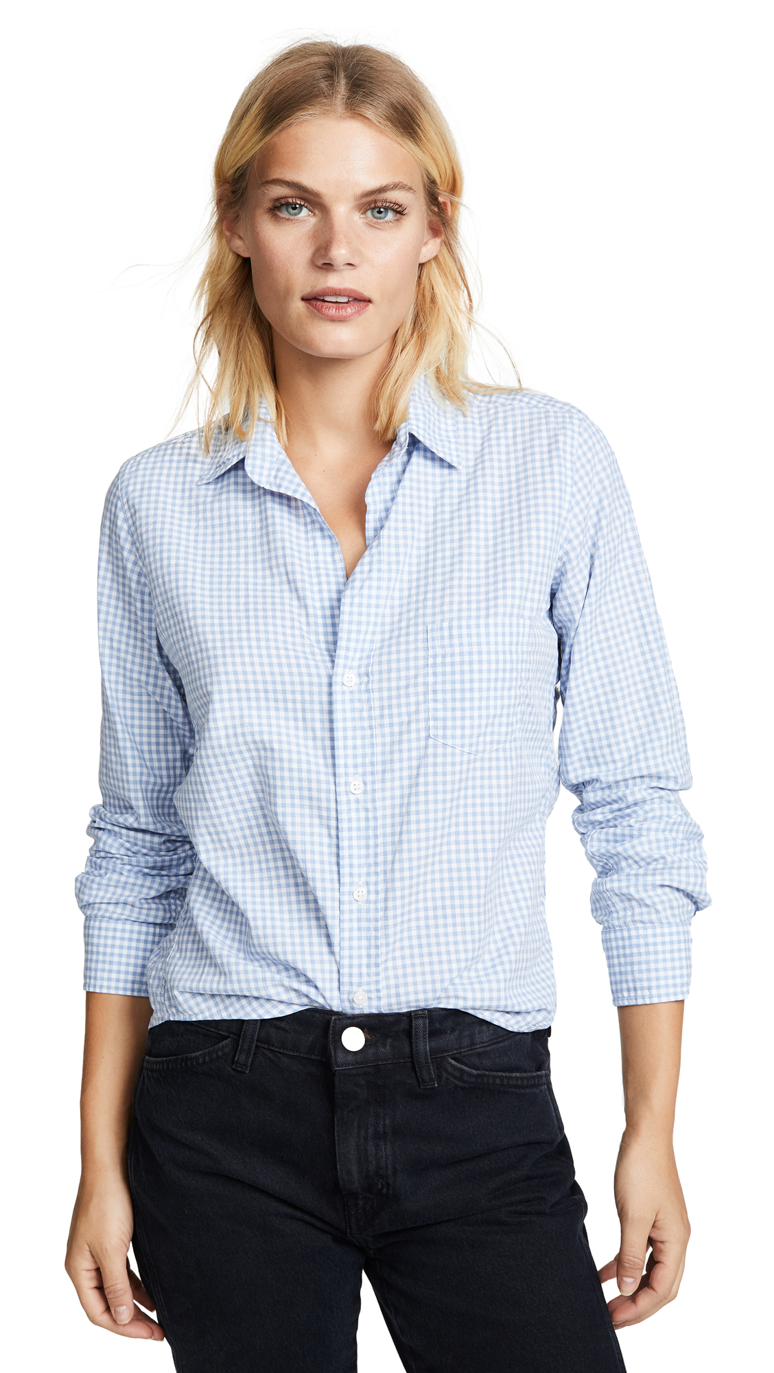 FRANK & EILEEN Barry Button Down Shirt in Mini Blue Check