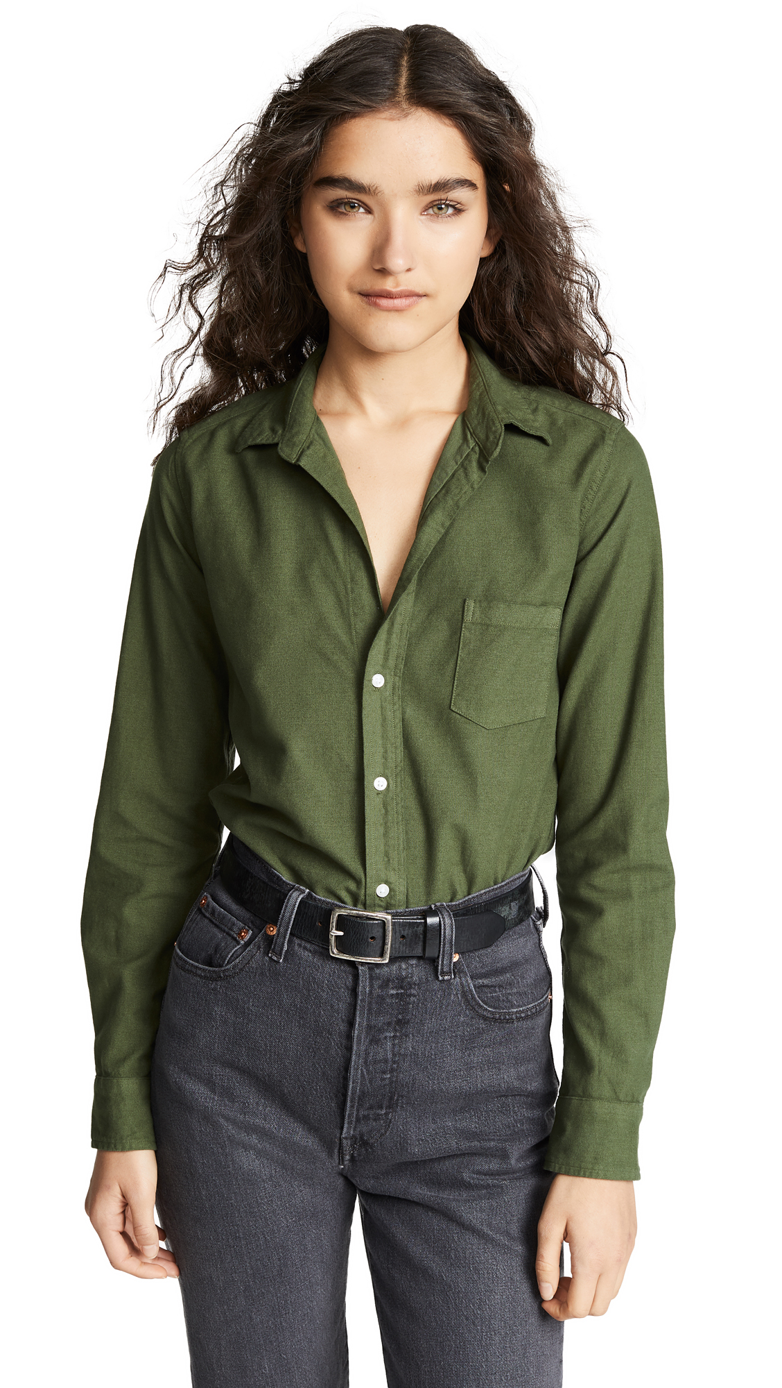 FRANK & EILEEN Barry Button Down in Army Green