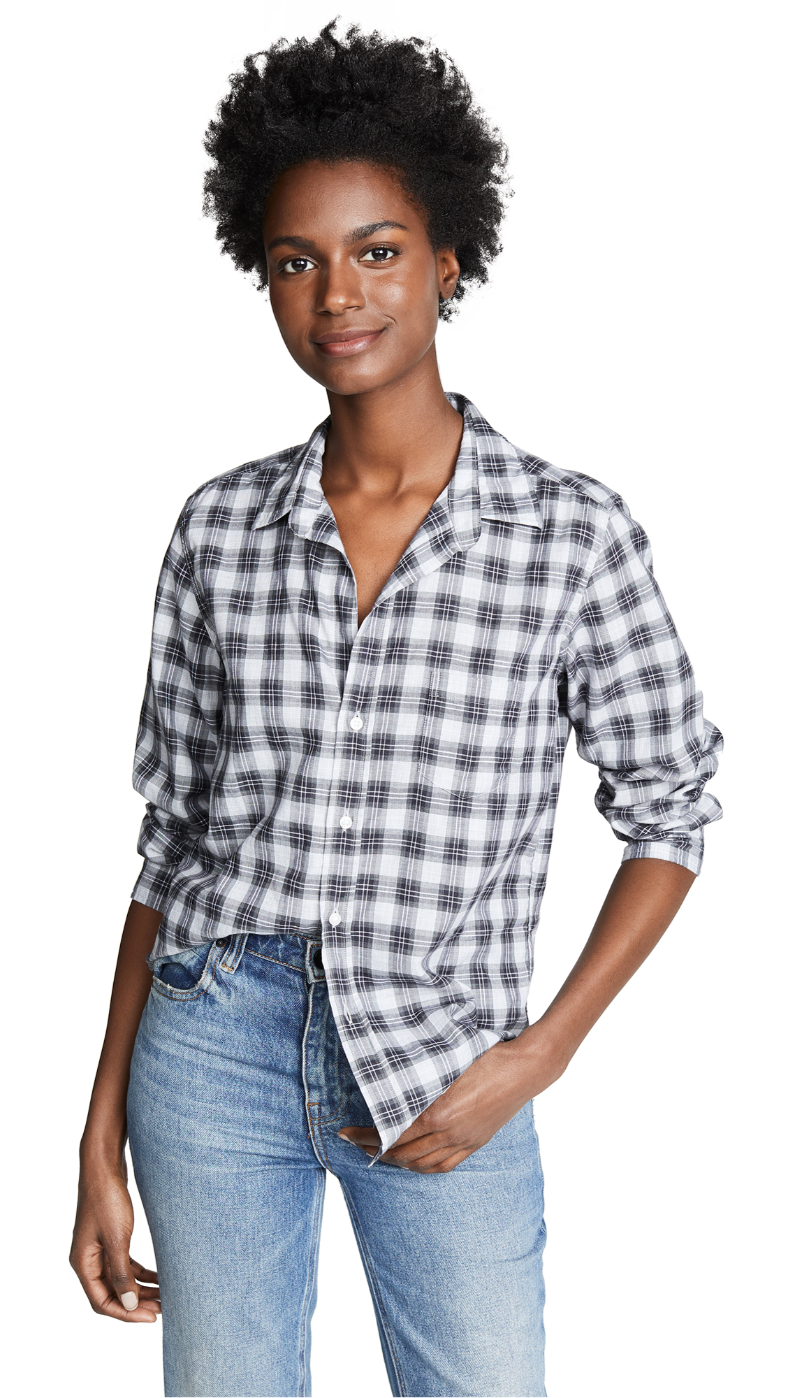FRANK & EILEEN Barry Button Down in Heather Grey/Black/Small Plaid