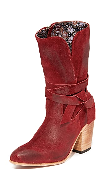 FREEBIRD by Steven Riot Suede Booties In Red