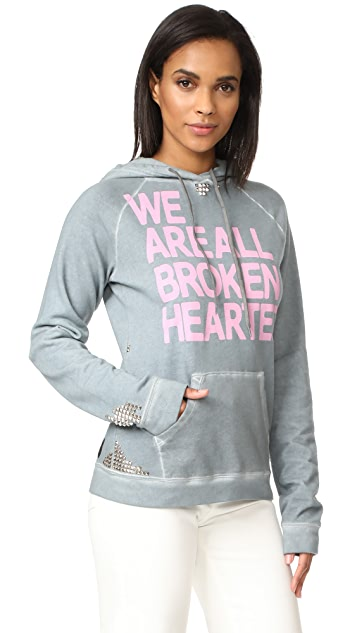 FREECITY Broken Hearted Studded Pullover Hoodie