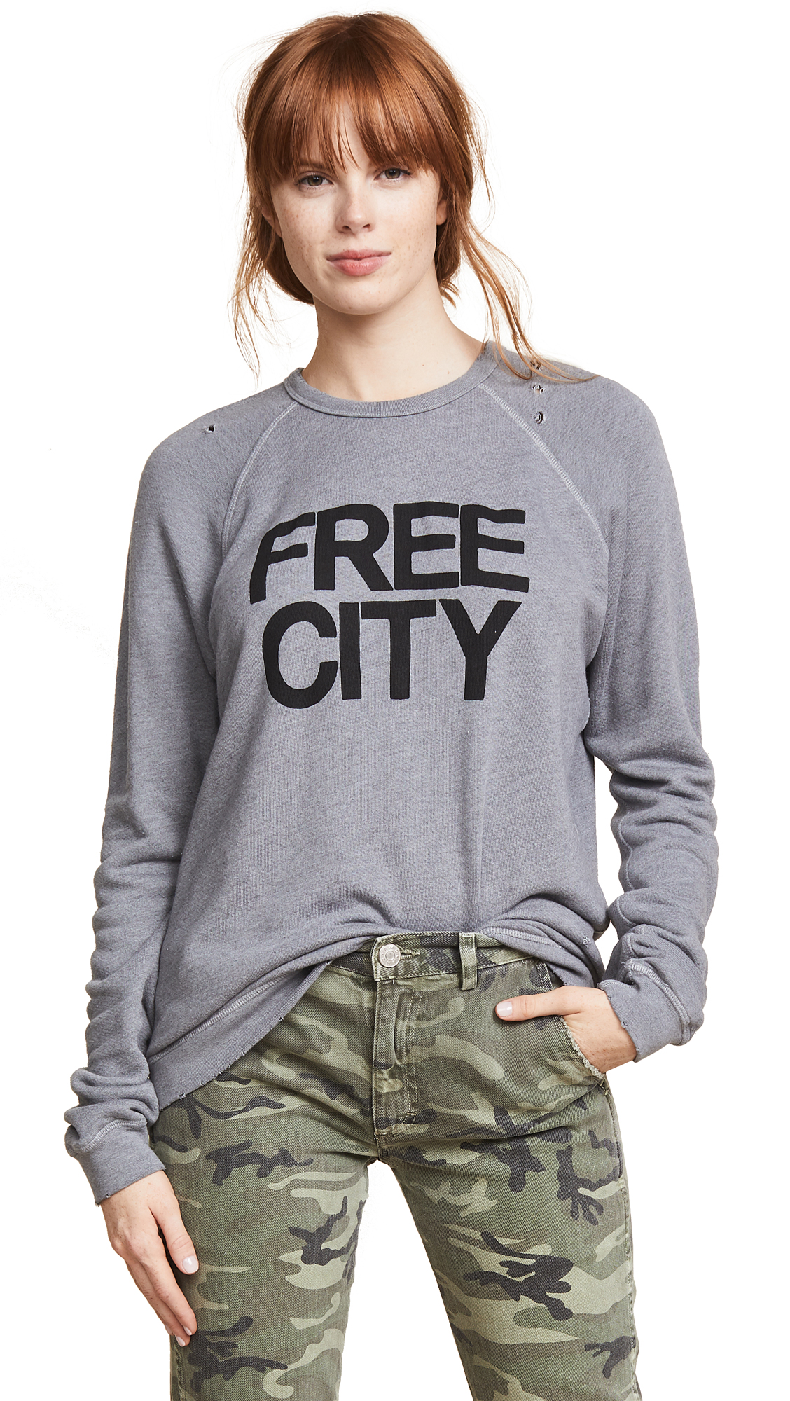 FREECITY Super Thrash Destroy Sweatshirt In Destroy Heather