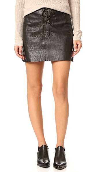 Free People Join Hands Leather Skirt