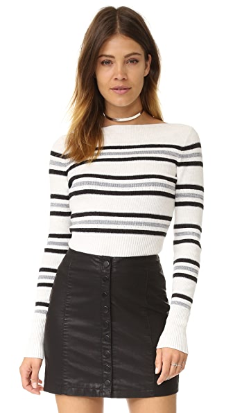 Free People Fern Cropped Stripe Sweater - Ivory Combo