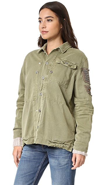 Free People Embellished Military Shirt Jacket