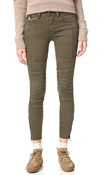 Free People Stretch Midnight Magic Moto Skinny Jeans