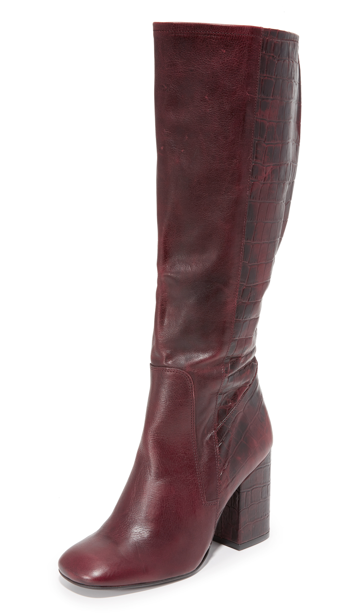Free People High Ground Tall Boots - Red