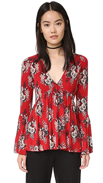 Free People Speak Easy Printed Top - Red