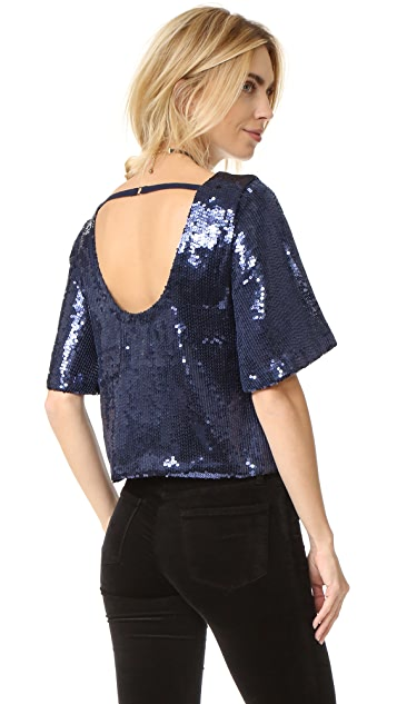 Free People Night Fever Sequin Tee