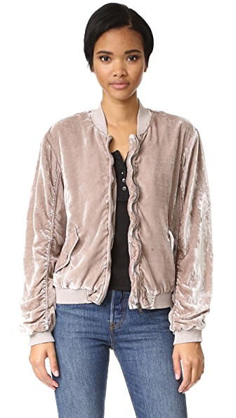 Free People Ruched Velvet Bomber
