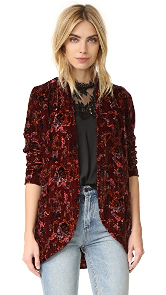 Free People Print Crinkle Velvet Slouchy Jacket