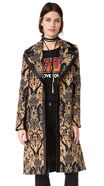 Free People Jacquard Blocked Coat