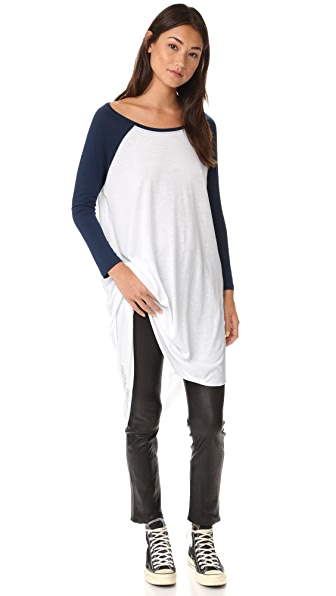 Free People Shredded Baseball Tee