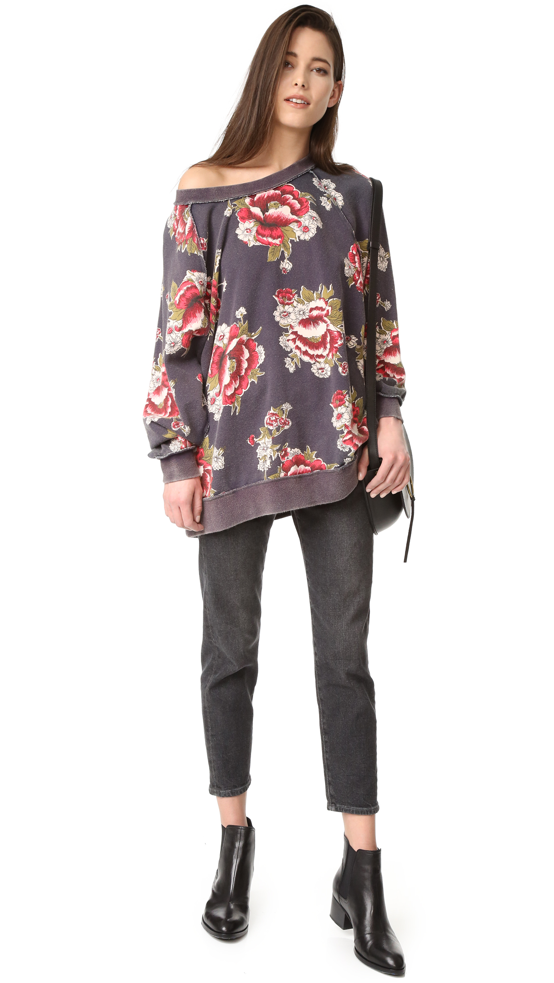 Free People Go On Get Floral Sweatshirt   SHOPBOP