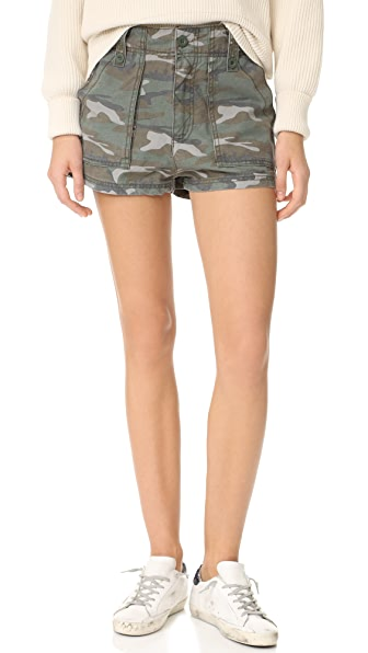 Free People High Waisted Military Shorts - Green Combo