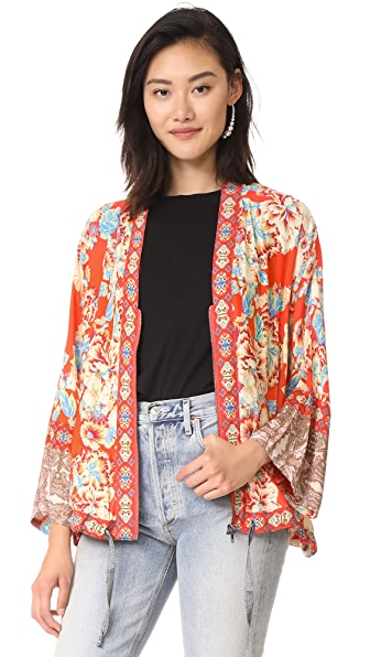 Free People Wildflower Cinched Kimono - Red