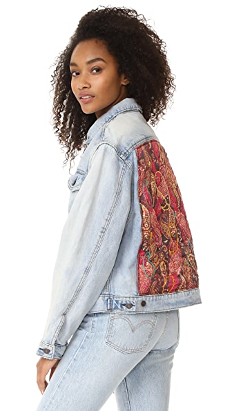 Free People Paisley Quilted Denim Jacket