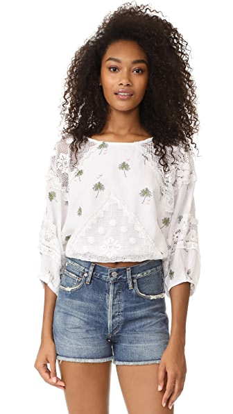 Free People Carolina Mindset Embroidered Top - White