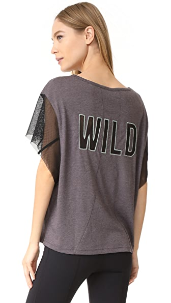 Free People Movement Wild Mesh Graphic Tee - Grey