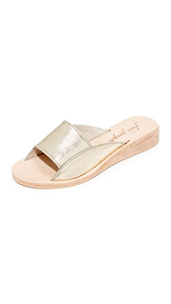 Free People Daybird Mini Wedge Slides In Gold