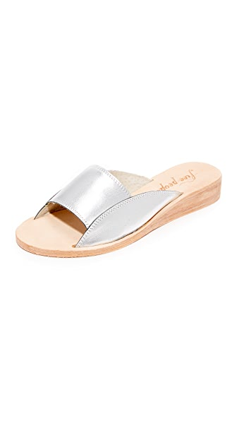 Free People Daybird Mini Wedge Slides In Silver