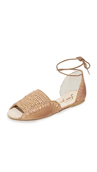 Free People Beaumont Woven Flat Sandals - Taupe
