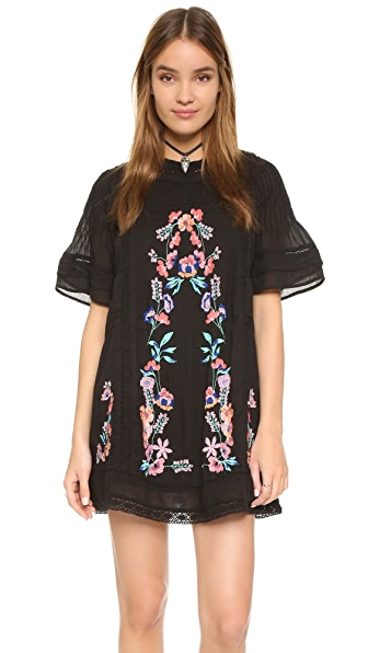 Free People Perfectly Victorian Embroidered Mini Dress - Black