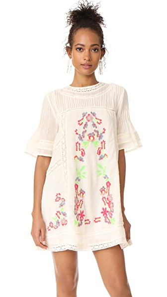 Free People Perfectly Victorian Embroidered Mini Dress In Ivory Combo