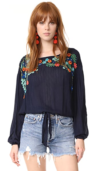 Free People Топ Up And Away с вышивкой