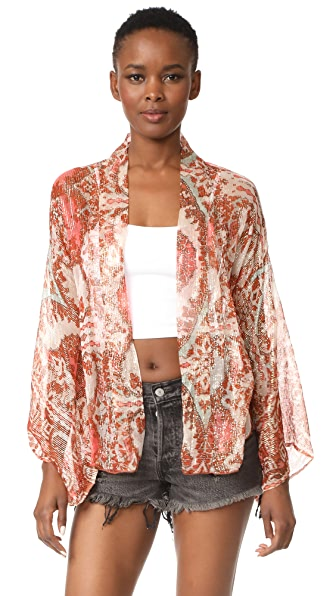 Free People Fleur De Lis Kimono - Pink