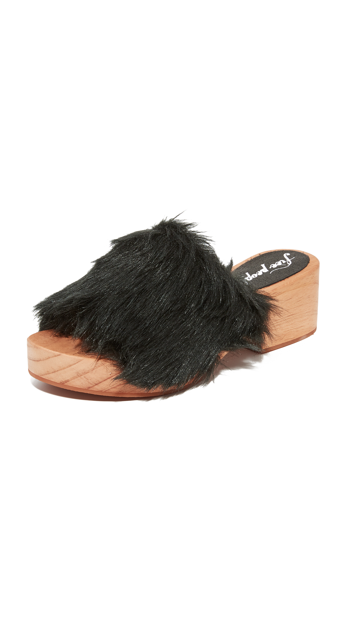 Free People Faux Fur Sonnet Clogs - Black