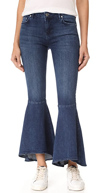 Free People Ruffle Flare Jeans