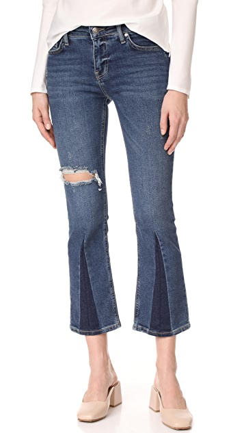 Free People Colorblocked Crop Flare Jeans