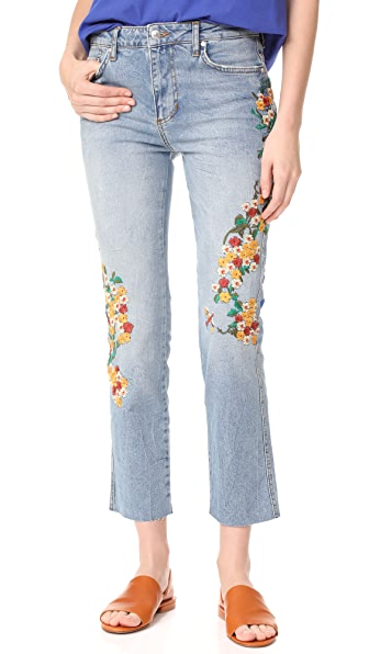 Free People Embroidered Girlfriend Jeans - Light Denim