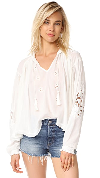 Free People Tropical Summer Hooded Top In Ivory